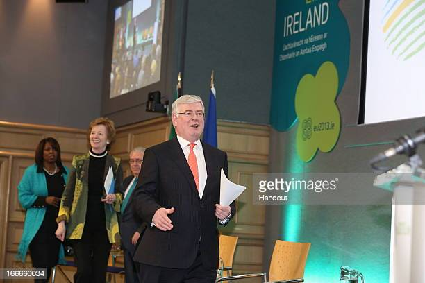 In this handout image provided by the Dept of the Taoiseach Eamon Gilmore attends the Hunger Nutrition Climate Justice Conference on April 15 2013 in...