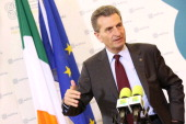 In this handout image provided by the Dept of the Taoiseach EU Energy Commissioner Guenther Oettinger addresses the media after attending an informal...
