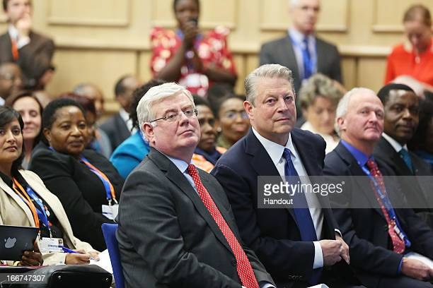 In this handout image provided by the Dept of the Taoiseach Former Vice President of United States of America Al Gore and Eamon Gilmore Tánaiste and...