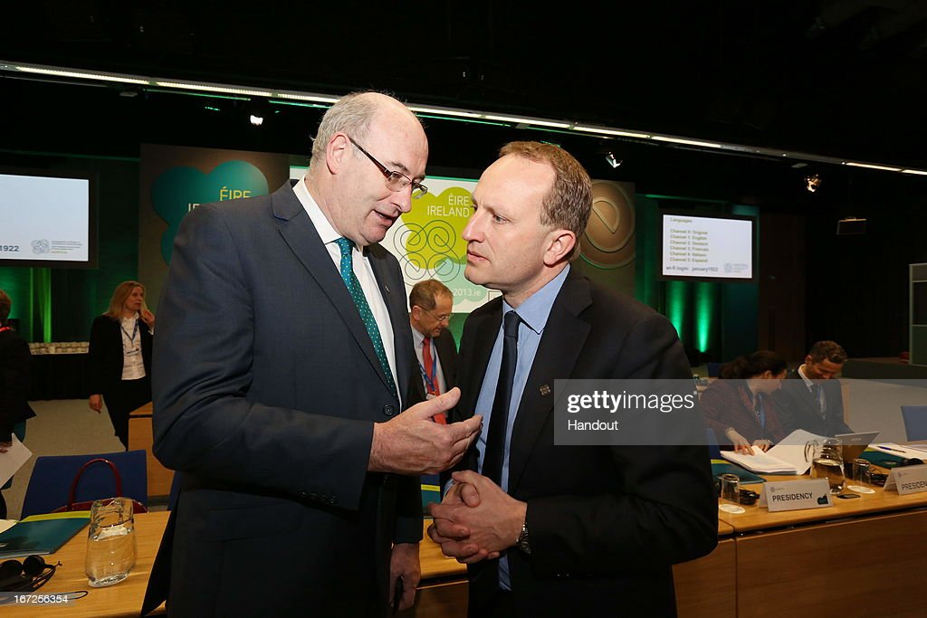 In this handout image provided by the Dept of the Taoiseach, Martin Lidgaard, Danish minister for the Climate, Energy and Buildings speaks to Phil Hogan, Irish Minister for the Environment, Community and Local Government during the informal meeting of Environment Ministers at Dublin Castle on April 23, 2013 in Dublin Ireland. During the meeting issues such as resource efficiency and climate change within the EU were discussed.