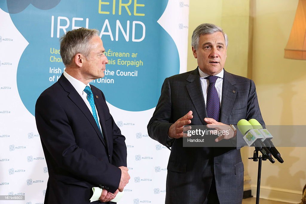 In this handout image provided by the Dept of the Taoiseach, Richard Bruton TD (L) Minister of Jobs, Enterprise & Innovation with <a gi-track='captionPersonalityLinkClicked' href=/galleries/search?phrase=Antonio+Tajani&family=editorial&specificpeople=5429212 ng-click='$event.stopPropagation()'>Antonio Tajani</a>, Vice President of European Commission with responsibility for Industry & Entrepreneurship, during a press briefing ahead of the final day of the Competitiveness Council meeting in Dublin Castle on May 03, 2013 in Dublin, Ireland. The Council have met in two configurations on Thursday and today under the overall theme 'Innovative Pathways to Jobs and Growth'.