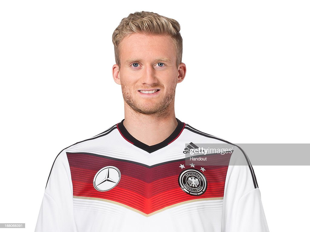 In this handout image provided by the DFB, <a gi-track='captionPersonalityLinkClicked' href=/galleries/search?phrase=Andre+Schuerrle&family=editorial&specificpeople=5513825 ng-click='$event.stopPropagation()'>Andre Schuerrle</a> poses during the German National Team presentation on November 15, 2013 in Germany.