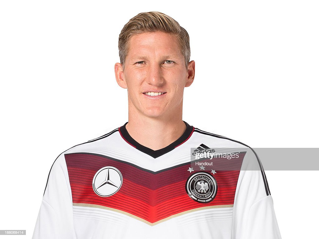 In this handout image provided by the DFB, <a gi-track='captionPersonalityLinkClicked' href=/galleries/search?phrase=Bastian+Schweinsteiger&family=editorial&specificpeople=203122 ng-click='$event.stopPropagation()'>Bastian Schweinsteiger</a> poses during the German National Team presentation on November 15, 2013 in Germany.