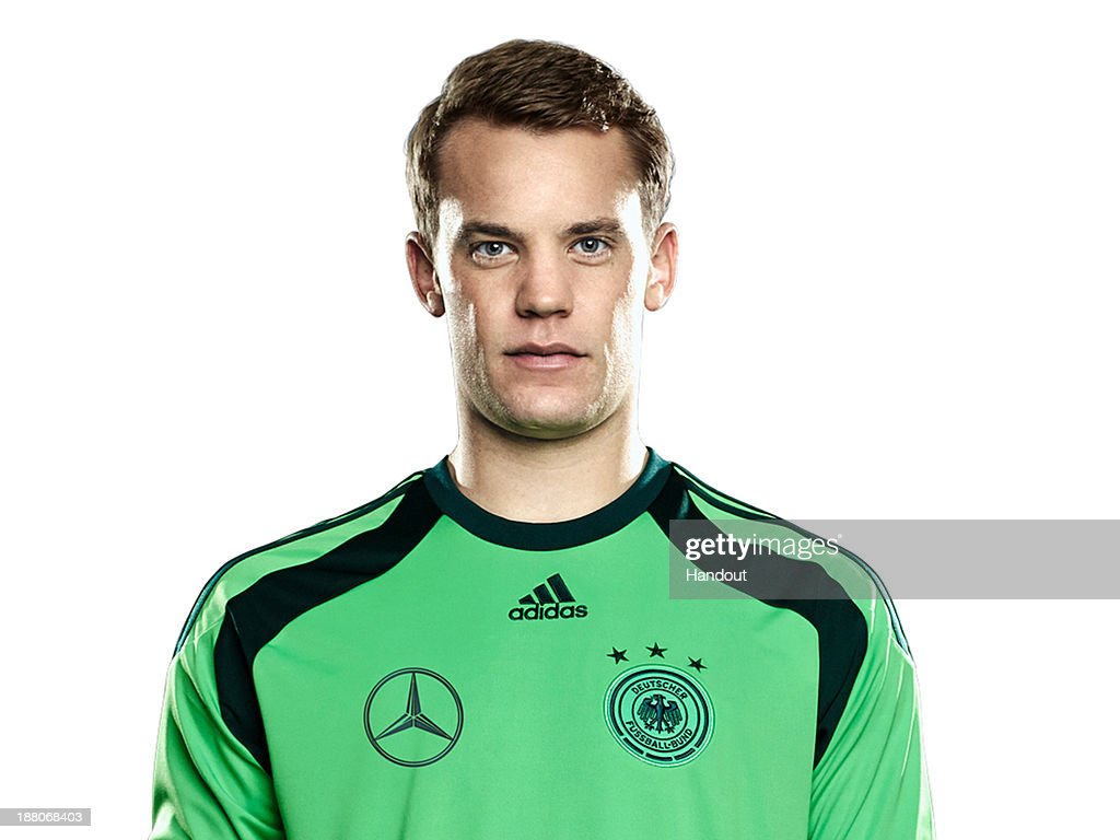 In this handout image provided by the DFB, goalkeeper <a gi-track='captionPersonalityLinkClicked' href=/galleries/search?phrase=Manuel+Neuer&family=editorial&specificpeople=764621 ng-click='$event.stopPropagation()'>Manuel Neuer</a> poses during the German National Team presentation on November 15, 2013 in Germany.