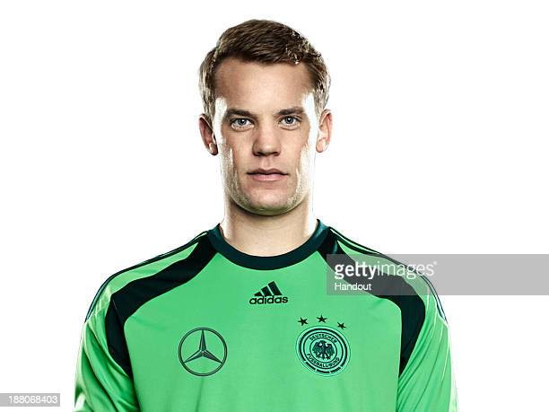 In this handout image provided by the DFB goalkeeper Manuel Neuer poses during the German National Team presentation on November 15 2013 in Germany