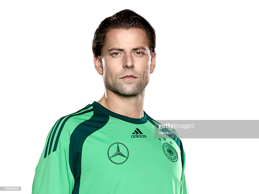 In this handout image provided by the DFB, goalkeeper <a gi-track='captionPersonalityLinkClicked' href=/galleries/search?phrase=Roman+Weidenfeller&family=editorial&specificpeople=726753 ng-click='$event.stopPropagation()'>Roman Weidenfeller</a> poses during the German National Team presentation on November 15, 2013 in Germany.
