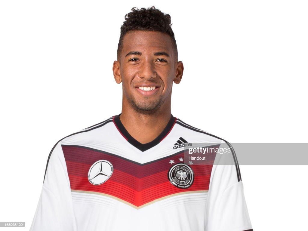 In this handout image provided by the DFB, <a gi-track='captionPersonalityLinkClicked' href=/galleries/search?phrase=Jerome+Boateng&family=editorial&specificpeople=2192287 ng-click='$event.stopPropagation()'>Jerome Boateng</a> poses during the German National Team presentation on November 15, 2013 in Germany.