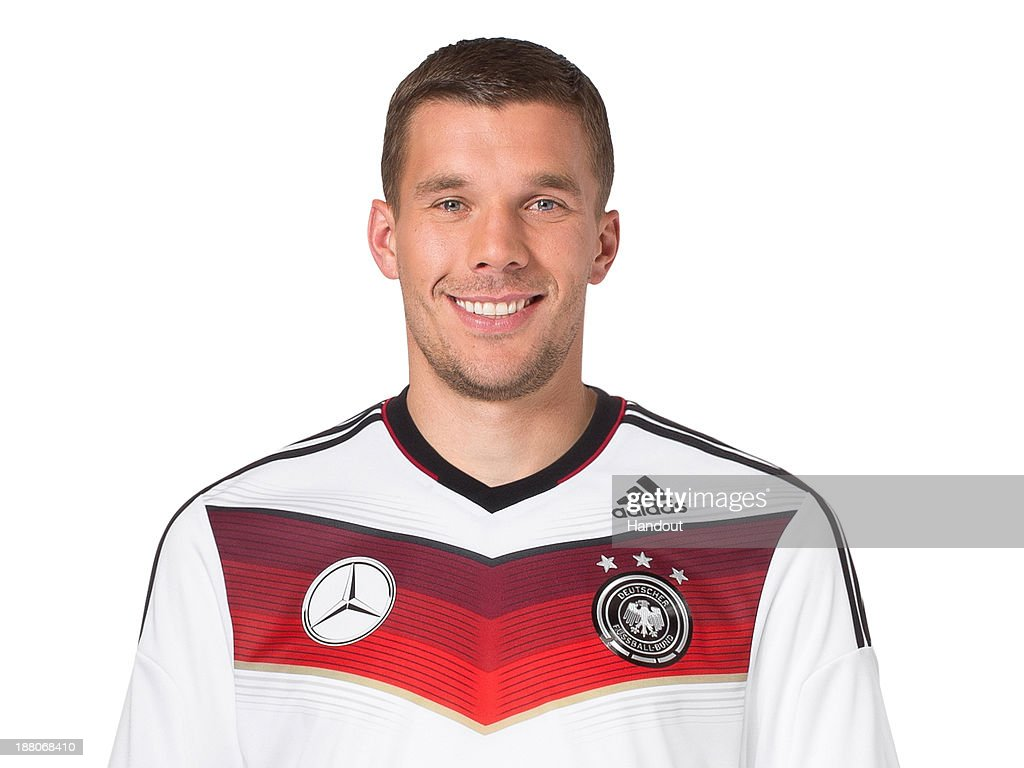 In this handout image provided by the DFB, <a gi-track='captionPersonalityLinkClicked' href=/galleries/search?phrase=Lukas+Podolski&family=editorial&specificpeople=204460 ng-click='$event.stopPropagation()'>Lukas Podolski</a> poses during the German National Team presentation on November 15, 2013 in Germany.