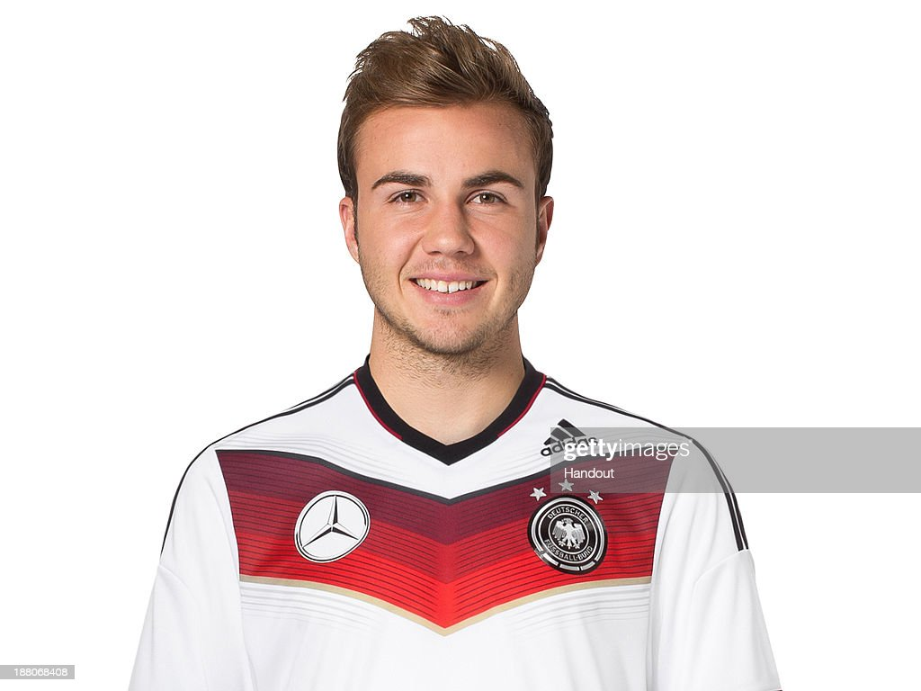 In this handout image provided by the DFB, Mario Goetze poses during the German National Team presentation on November 15, 2013 in Germany.