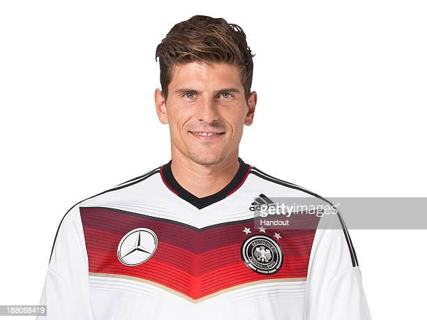 In this handout image provided by the DFB Mario Gomez poses during the German National Team presentation on November 15 2013 in Germany