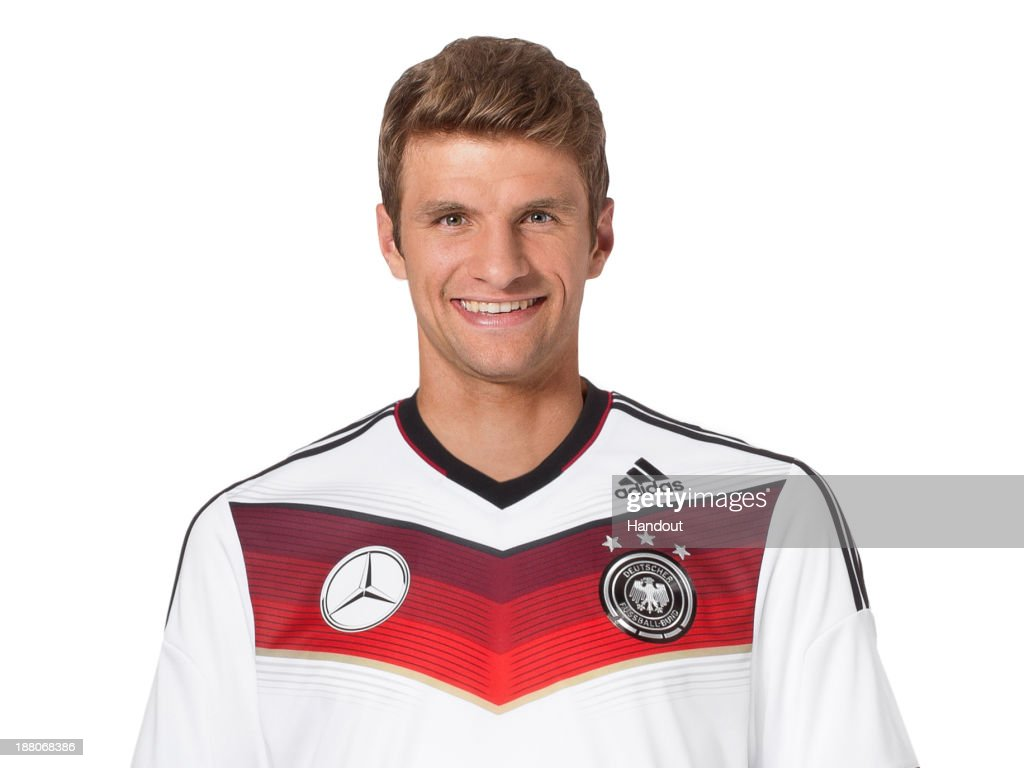 In this handout image provided by the DFB, Thomas Mueller poses during the German National Team presentation on November 15, 2013 in Germany.
