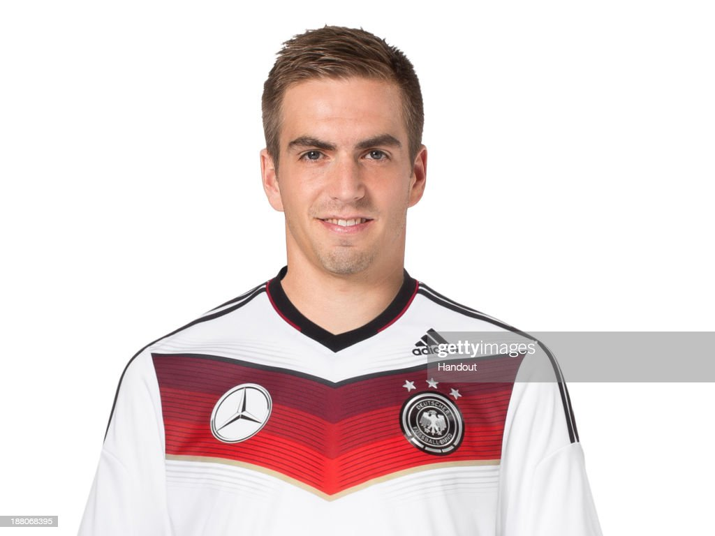 In this handout image provided by the DFBPhilipp Lahm poses during the German National Team presentation on November 15, 2013 in Germany.