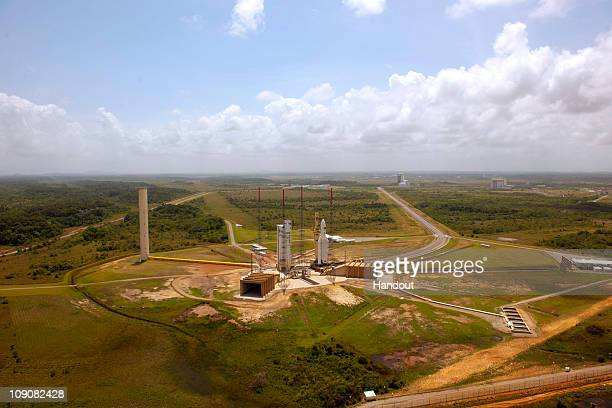 In this handout image provided by the European Space Agency the Ariane 5 ES is transfered to the launch zone February 14 2011 at Europe's Spaceport...