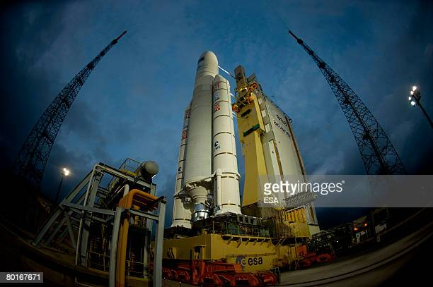 In this handout image provided by the European Space Agency The Ariane 5 ESATV launcher on its mobile launch table arrives at the Launch Zone of...
