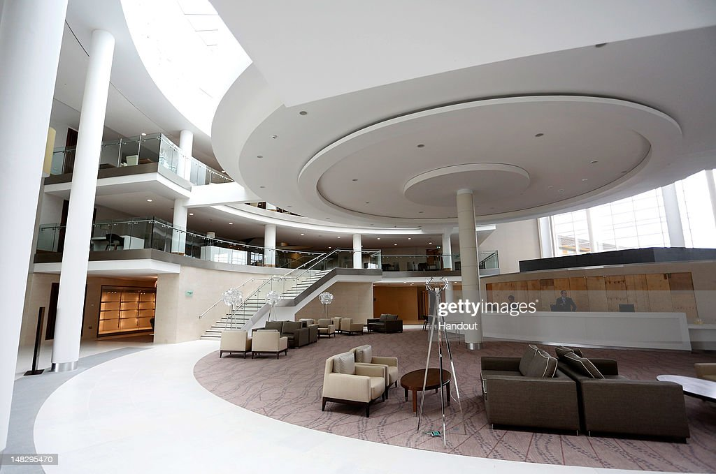 In this handout image provided by The FA, A general view of the Hilton Hotel lobby and reception area during a media event at the Football Association's new National Football Centre, St George's Park on July 10, 2012 in Burton, England.