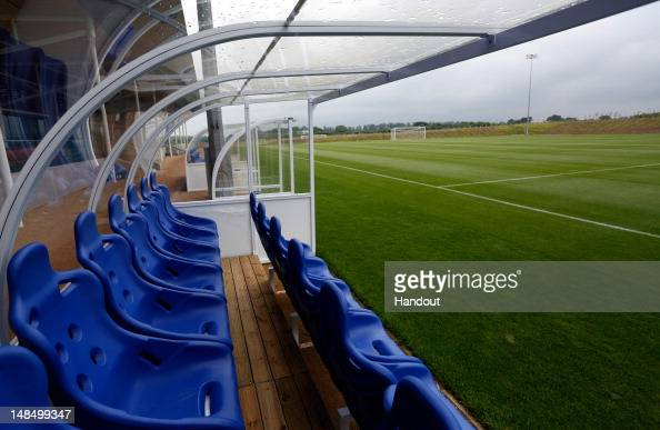 In this handout image provided by The FA A general view of the dugouts on the Umbro training pitch during a media event at the Football Association's...
