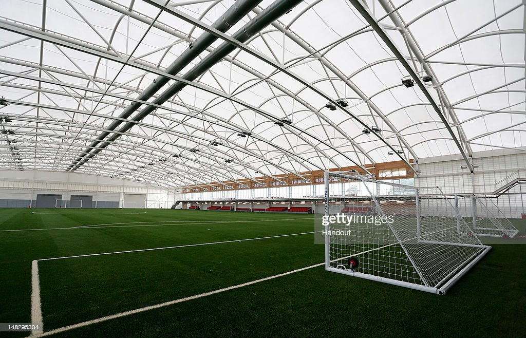 In this handout image provided by The FA, A general view of the Sir Alf Ramsey indoor training pitch during a media event at the Football Association's new National Football Centre, St George's Park on July 10, 2012 in Burton, England.
