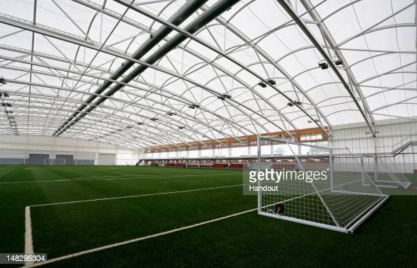 In this handout image provided by The FA A general view of the Sir Alf Ramsey indoor training pitch during a media event at the Football...