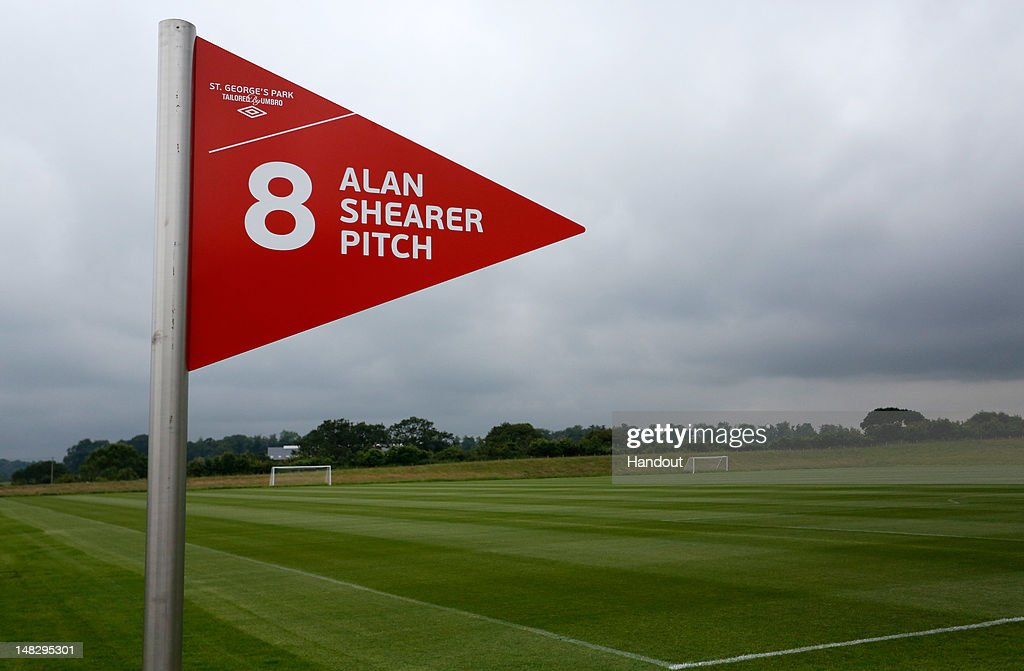 In this handout image provided by The FA, A sign for the Alan Shearer training pitch during a media event at the Football Association's new National Football Centre, St George's Park on July 10, 2012 in Burton, England.