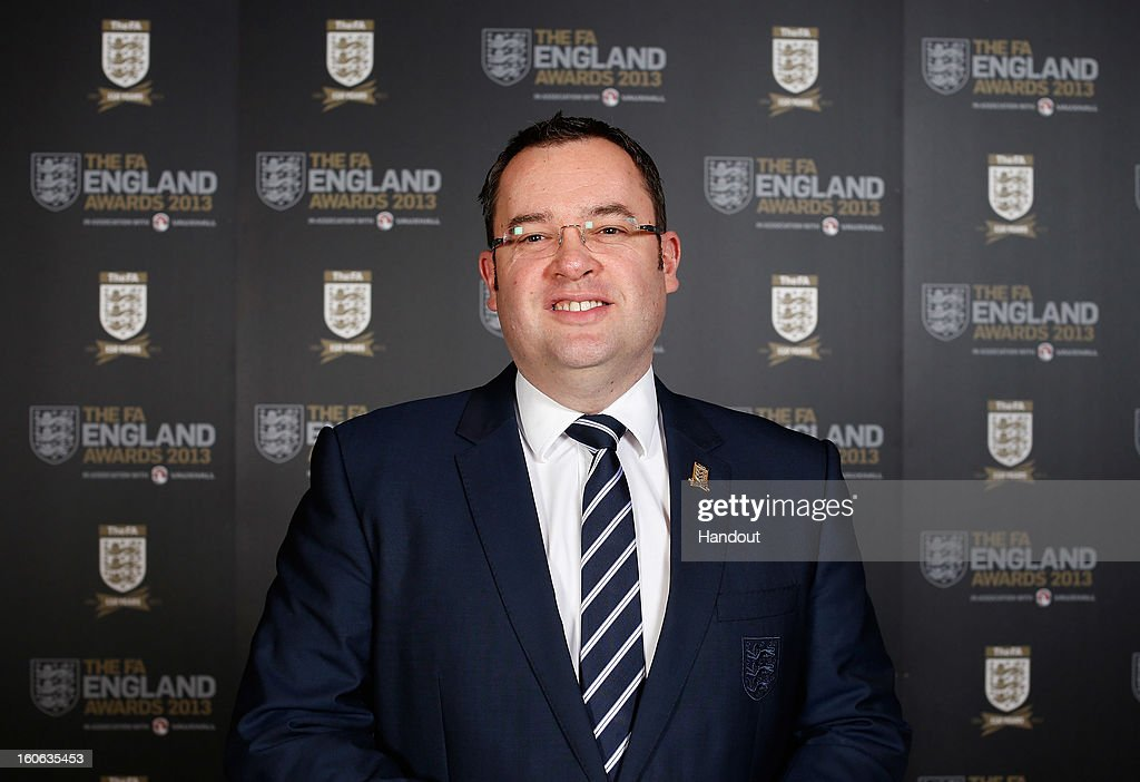 In this handout image provided by The FA, Alex Horne, General Secretary of The FA poses during the FA England Awards 2013 at St. George's Park on February 3, 2013 in Burton-upon-Trent, England.