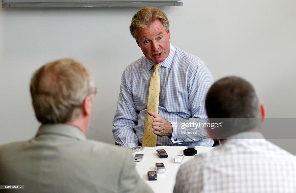 In this handout image provided by The FA, David Sheepshanks, Chairman of the FA, speaks to journalists during a media event at the Football Association's new National Football Centre, St George's Park on July 10, 2012 in Burton, England.