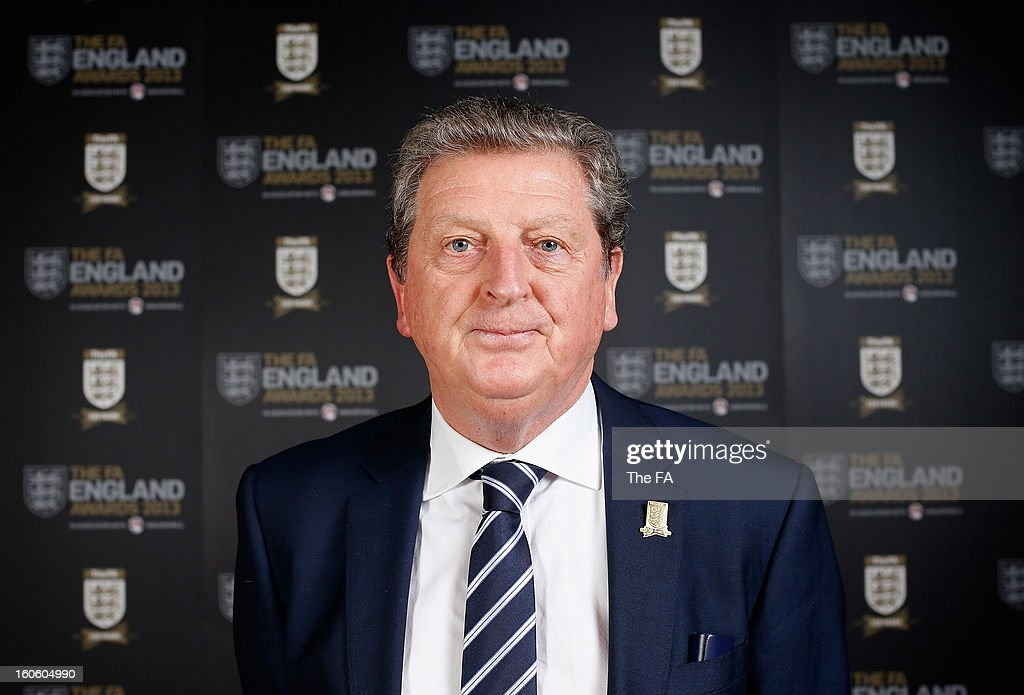 In this handout image provided by The FA, England manager <a gi-track='captionPersonalityLinkClicked' href=/galleries/search?phrase=Roy+Hodgson&family=editorial&specificpeople=881703 ng-click='$event.stopPropagation()'>Roy Hodgson</a> poses during the FA England Awards 2013 at St. George's Park on February 3, 2013 in Burton-upon-Trent, England.
