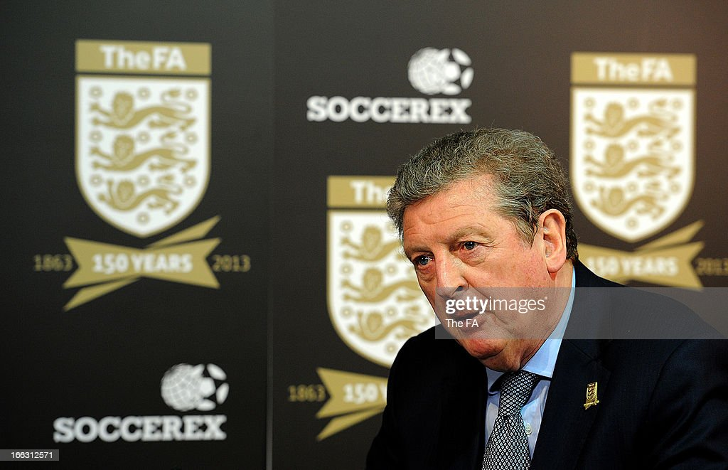 In this handout image provided by The FA, England manager <a gi-track='captionPersonalityLinkClicked' href=/galleries/search?phrase=Roy+Hodgson&family=editorial&specificpeople=881703 ng-click='$event.stopPropagation()'>Roy Hodgson</a> speaks to the media in the FA150 lounge during the Soccerex European Forum Conference Programme in Manchester on April 11, 2013 in Manchester England.