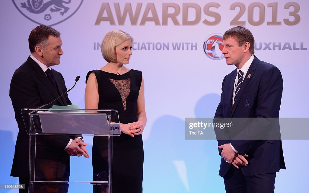 In this handout image provided by The FA, England under 21 manager Stuart Pearce talks to Ray Stubbs and Rebecca Lowe during the FA England Awards 2013 at St. George's Park on February 3, 2013 in Burton-upon-Trent, England.