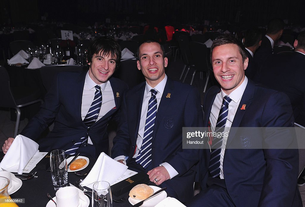 In this handout image provided by The FA, Everton players (L-R) Leighton Baines, Leon Osman and Phil Jagielka attend the FA England Awards 2013 at St. George's Park on February 3, 2013 in Burton-upon-Trent, England.