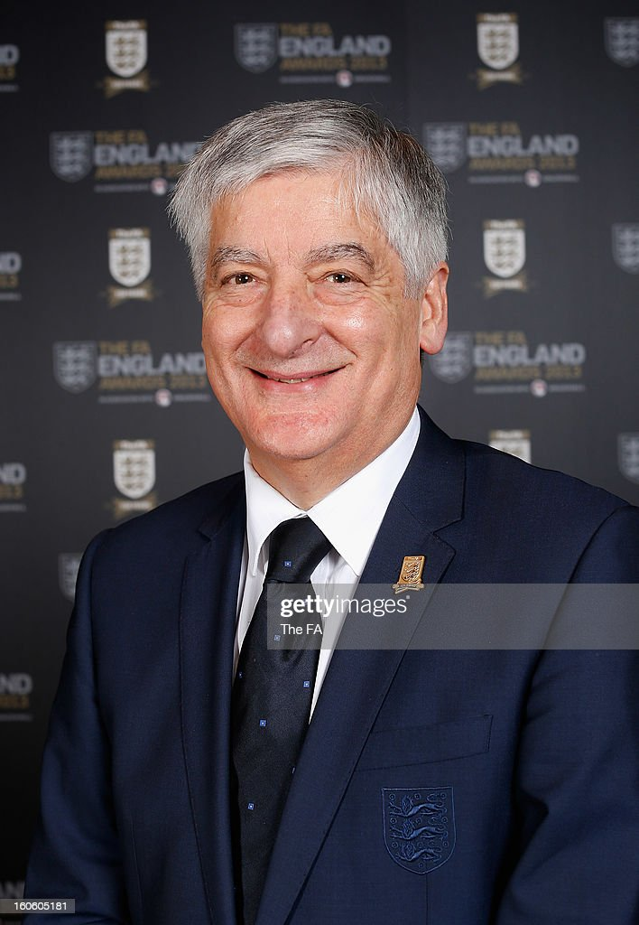 In this handout image provided by The FA, FA Chairman <a gi-track='captionPersonalityLinkClicked' href=/galleries/search?phrase=David+Bernstein&family=editorial&specificpeople=6425521 ng-click='$event.stopPropagation()'>David Bernstein</a> poses during the FA England Awards 2013 at St. George's Park on February 3, 2013 in Burton-upon-Trent, England.