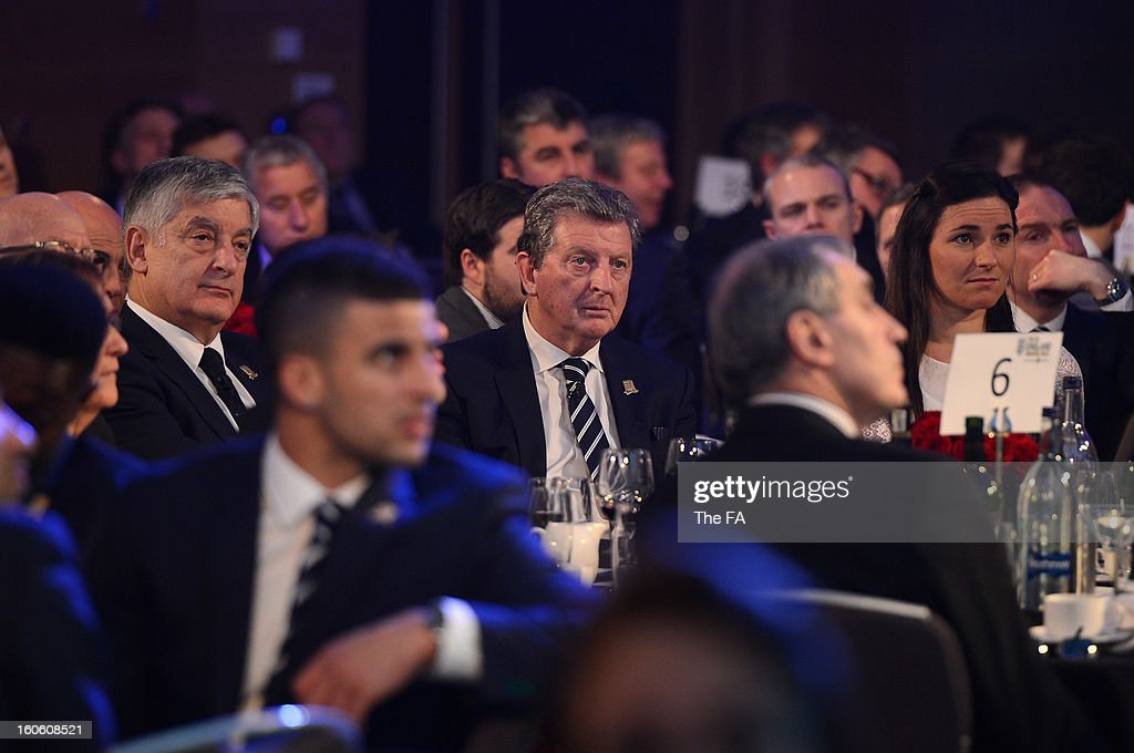 In this handout image provided by The FA, FA Chairman David Bernstein, England manager Roy Hodgson and Paralympian Sarah Storey attend the FA England Awards 2013 at St. George's Park on February 3, 2013 in Burton-upon-Trent, England.