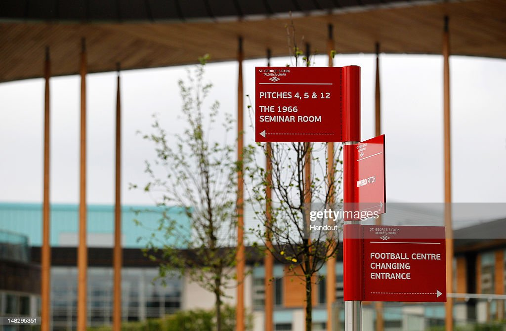 In this handout image provided by The FA, Signs with location directions are seen during a media event at the Football Association's new National Football Centre, St George's Park on July 10, 2012 in Burton, England.