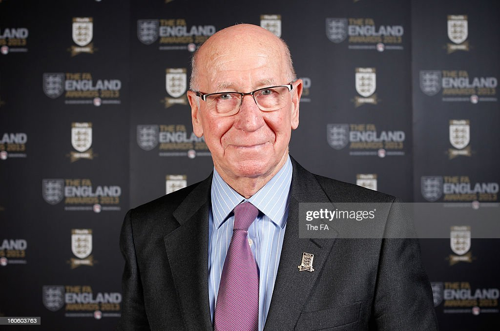 In this handout image provided by The FA, Sir Bobby Charlton poses during the FA England Awards 2013 at St. George's Park on February 3, 2013 in Burton-upon-Trent, England.
