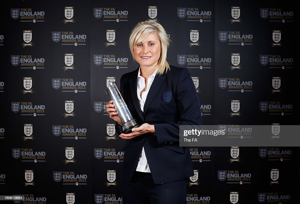 In this handout image provided by The FA, Stephanie Houghton poses with the Senior Women's Player of the Year award during the FA England Awards 2013 at St. George's Park on February 3, 2013 in Burton-upon-Trent, England.