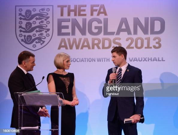 In this handout image provided by The FA Steven Gerrard talks to Ray Stubbs and Rebecca Lowe after receiving the Senior Men's Player of the Year...