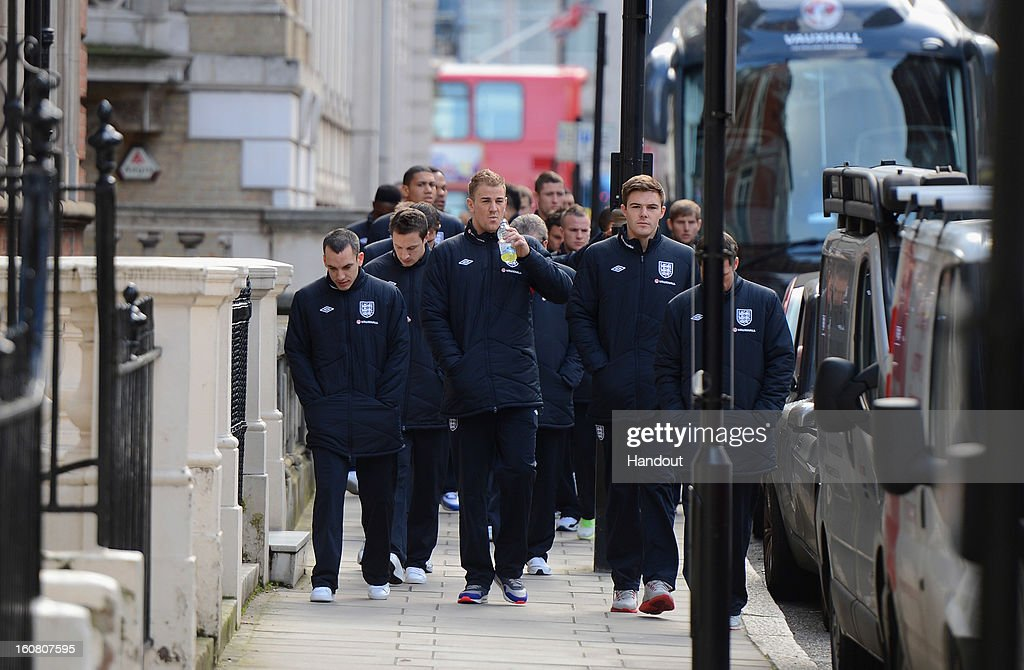 In this handout image provided by The FA, the England squad go for a walk around Mayfair in London ahead of the game against Brazil on February 6, 2013 in London England.