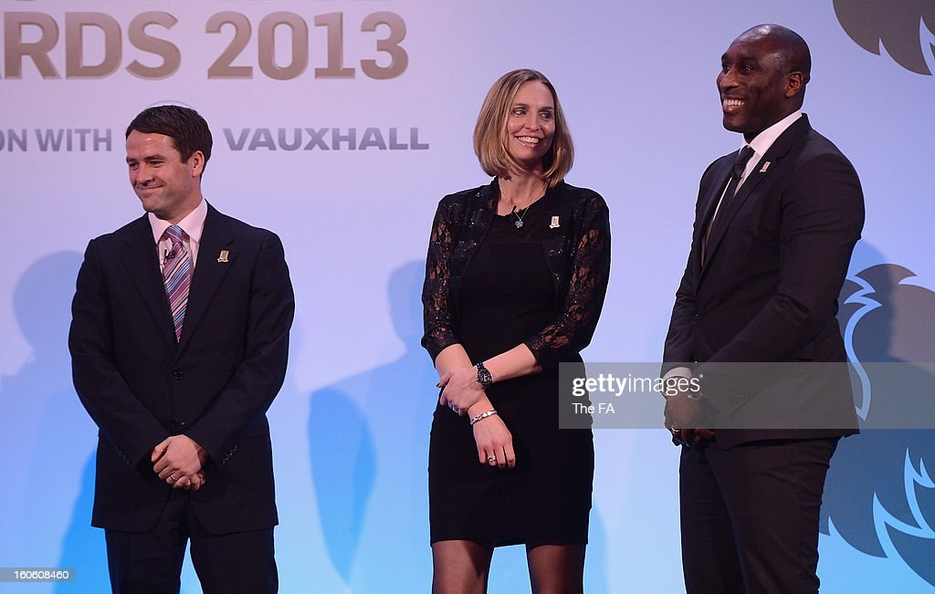 In this handout image provided by The FA, the Legends Panel of Michael Owen, Faye White and Sol Campbell talk on stage during the FA England Awards 2013 at St. George's Park on February 3, 2013 in Burton-upon-Trent, England.