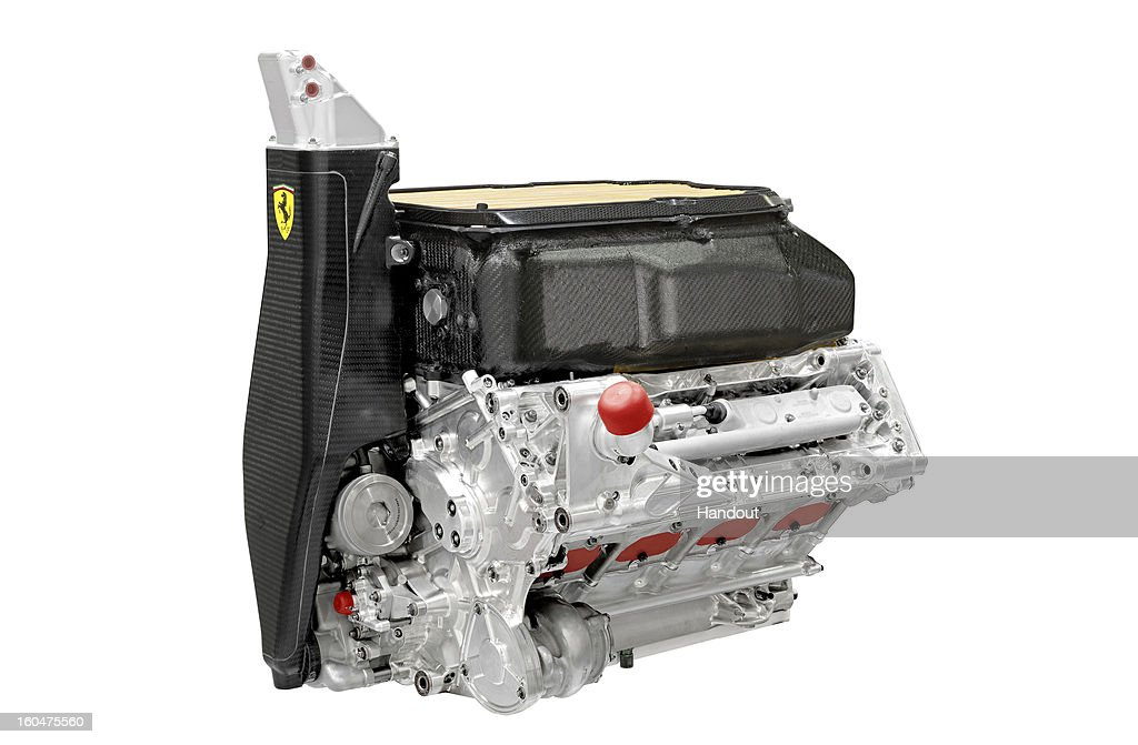 In this handout image provided by the Ferrari press office, the new Ferrari F138 Formula one car engine is displayed as the car is launched online on February 01, 2013.