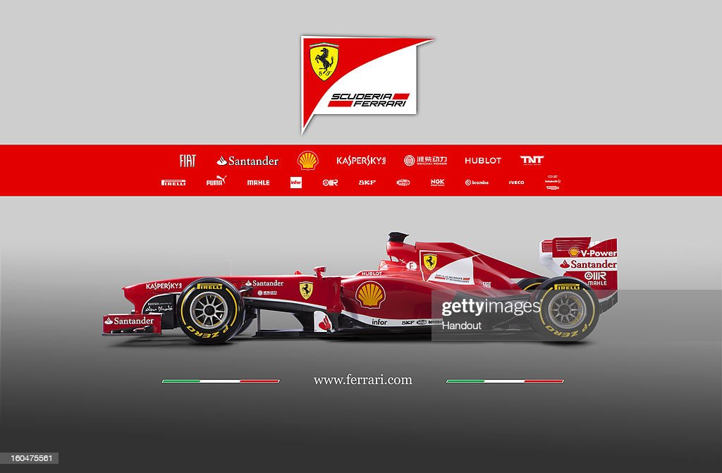 In this handout image provided by the Ferrari press office, the new Ferrari F138 Formula one car is launched online on February 01, 2013.
