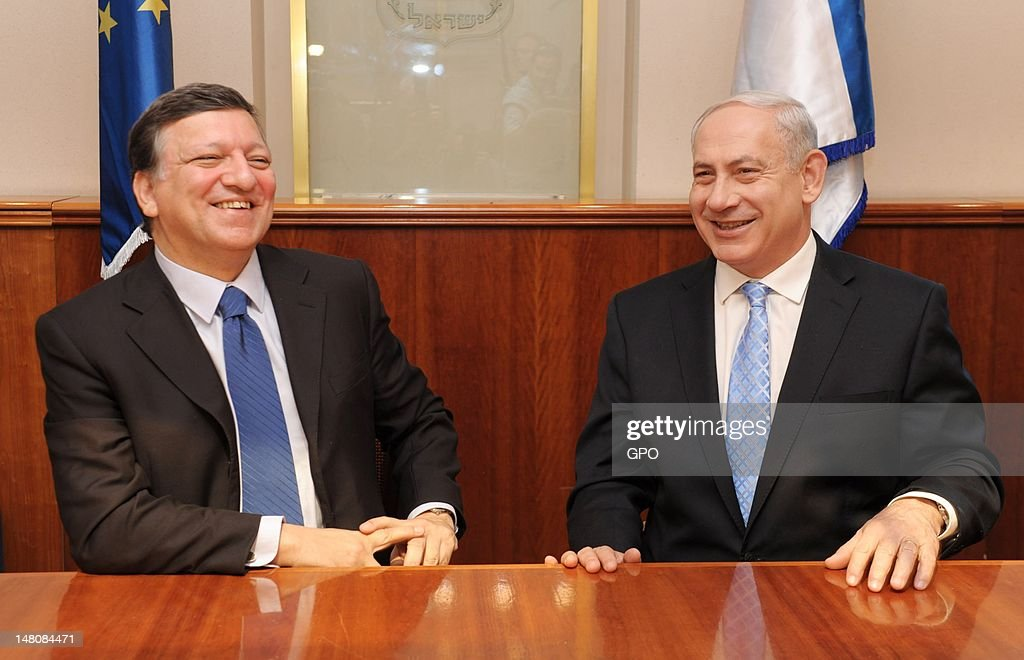 In this handout image provided by the GPO President of the European Commission Jose Manuel Barroso and Israeli Prime Minister Benjamin Netanyahu meet...