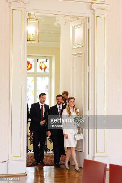 In this handout image provided by the GrandDucal Court of Luxembourg Prince Guillaume of Luxembourg and Countess Stephanie de Lannoy attend their...