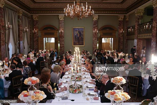 In this handout image provided by the GrandDucal Court of Luxembourg Guests attend a Gala dinner for the wedding of Prince Guillaume of Luxembourg...