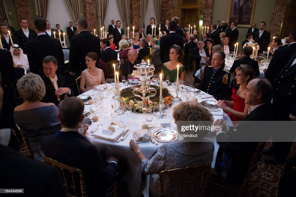 In this handout image provided by the Grand-Ducal Court of Luxembourg, Guests attend a Gala dinner for the wedding of Prince Guillaume of Luxembourg and Countess Stephanie de Lannoy at the Grand-ducal Palace on October 19, 2012 in Luxembourg, Luxembourg. The 30-year old hereditary Grand Duke of Luxembourg is the last hereditary Prince in Europe to get married, marrying his 28-year old Belgian Countess bride in a lavish 2-day ceremony.