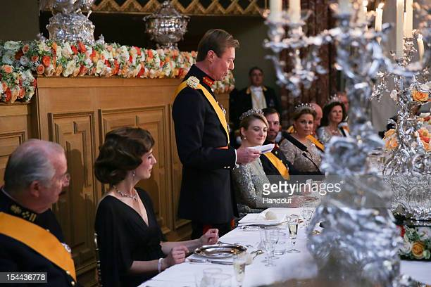 In this handout image provided by the GrandDucal Court of Luxembourg Grand Duke Henri of Luxembourg Countess Stephanie de Lannoy Prince Guillaume Of...