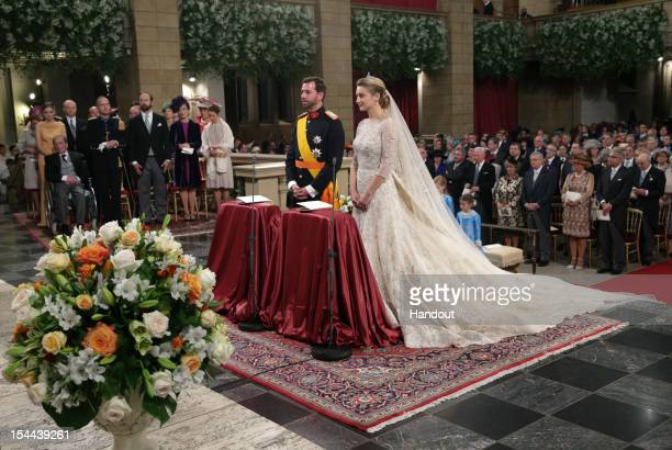 In this handout image provided by the GrandDucal Court of Luxembourg Princess Stephanie of Luxembourg and Crown Prince Guillaume of Luxembourg are...