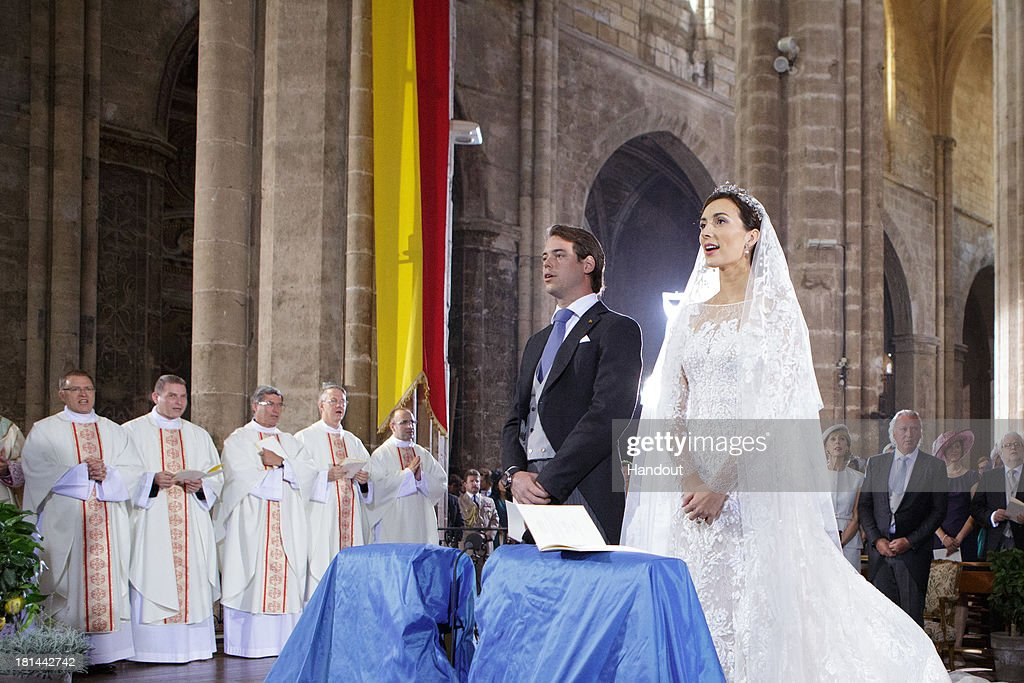 In this handout image provided by the Grand-Ducal Court of Luxembourg, Prince Felix Of Luxembourg and Princess Claire Of Luxembourg are seen during their wedding ceremony at the Basilique Sainte Marie-Madeleine on September 21, 2013 in Saint-Maximin-La-Sainte-Baume, France. ©Grand-Ducal Court/Guy Wolff/All rights reserved.