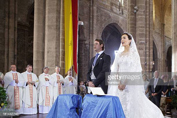 In this handout image provided by the GrandDucal Court of Luxembourg Prince Felix Of Luxembourg and Princess Claire Of Luxembourg are seen during...