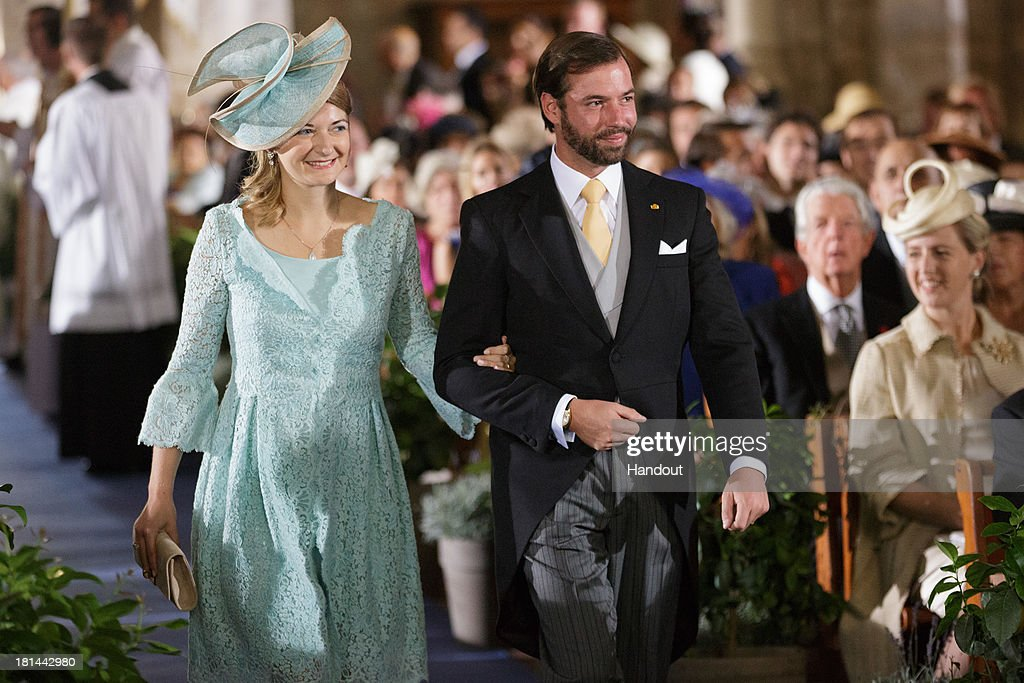 In this handout image provided by the Grand-Ducal Court of Luxembourg, Prince Guillaume Of Luxembourg, Princess Stephanie Of Luxembourg are seen during the wedding ceremony of Prince Felix Of Luxembourg and Princess Claire Of Luxembourg at the Basilique Sainte Marie-Madeleine on September 21, 2013 in Saint-Maximin-La-Sainte-Baume, France. ©Grand-Ducal Court/Guy Wolff/All rights reserved.