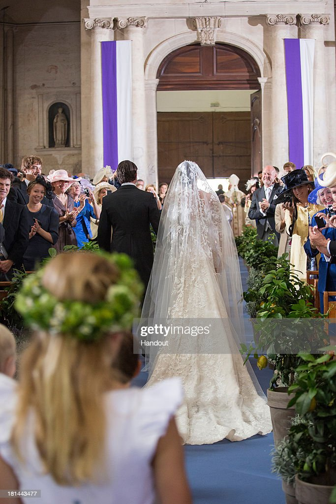 In this handout image provided by the Grand-Ducal Court of Luxembourg, Prince Felix Of Luxembourg and Princess Claire Of Luxembourg are seen during their wedding ceremony at the Basilique Sainte Marie-Madeleine on September 21, 2013 in Saint-Maximin-La-Sainte-Baume, France. ©Grand-Ducal Court/Eric Chenal/All rights reserved.