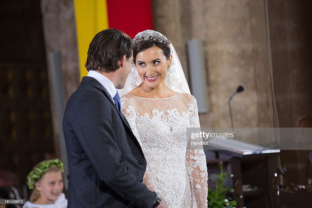 In this handout image provided by the Grand-Ducal Court of Luxembourg, Princess Claire Of Luxembourg and Prince Felix Of Luxembourg are seen during their wedding ceremony at the Basilique Sainte Marie-Madeleine on September 21, 2013 in Saint-Maximin-La-Sainte-Baume, France. ©Grand-Ducal Court/Eric Chenal/All rights reserved.
